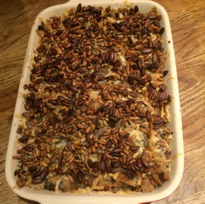 Mushroom, bean and seed bake